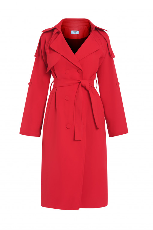 DOUBLE-BREAST COTTON TWILL TRENCH COAT