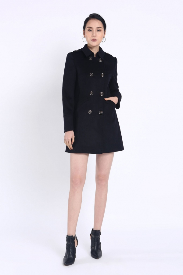 MILITARY STRETCH WOOL COAT