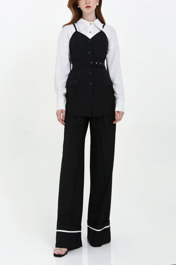 TURIN BUTTONED TAILORED TOP