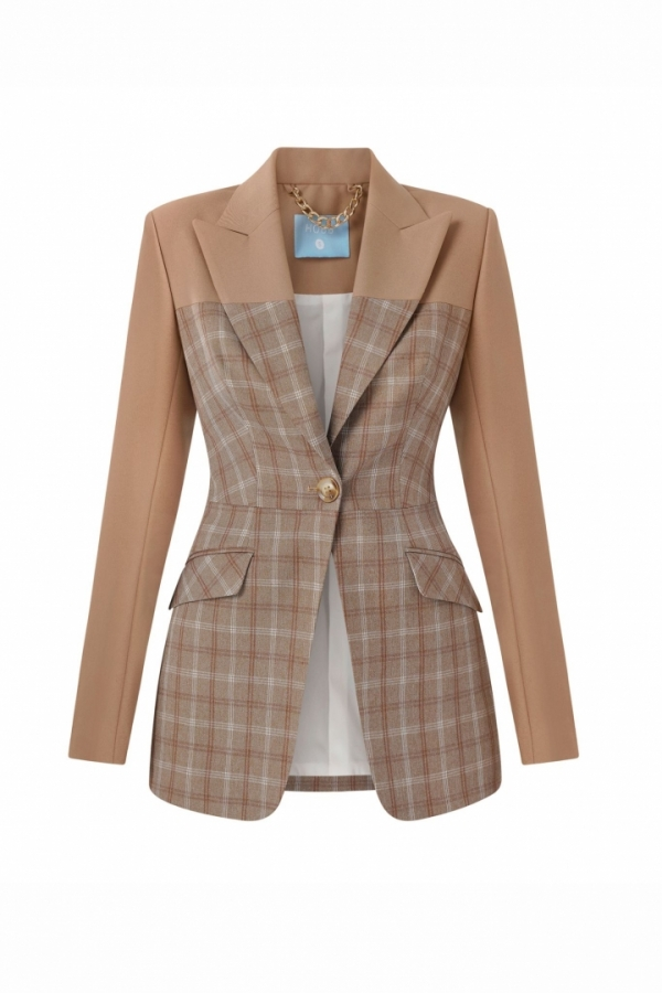 SINGLE BREASTED FITTED SUIT JACKET