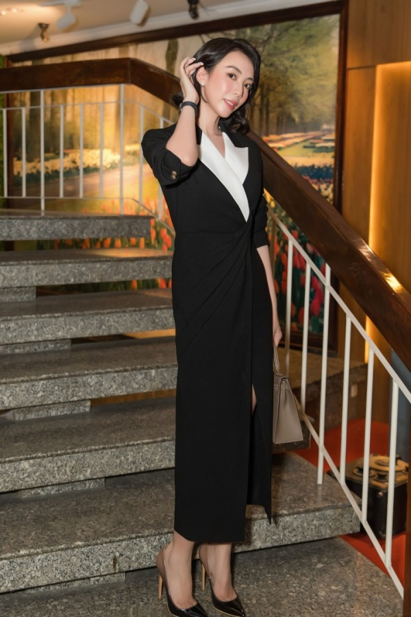 ACTRESS THU TRANG | ELLEN DRAPING DRESS