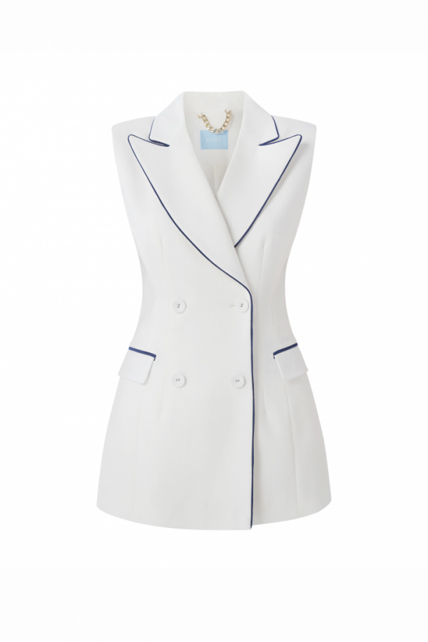 PASSION DOUBLE - BREASTED TWILL VEST WITH CONTRAST LINE