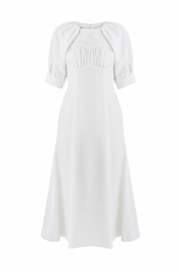 ELLEN PLEAT - DETAIL LINEN BLEND DRESS