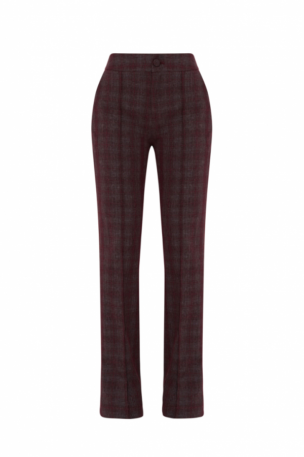 BURGUNDY CHECKED FLARED PANTS