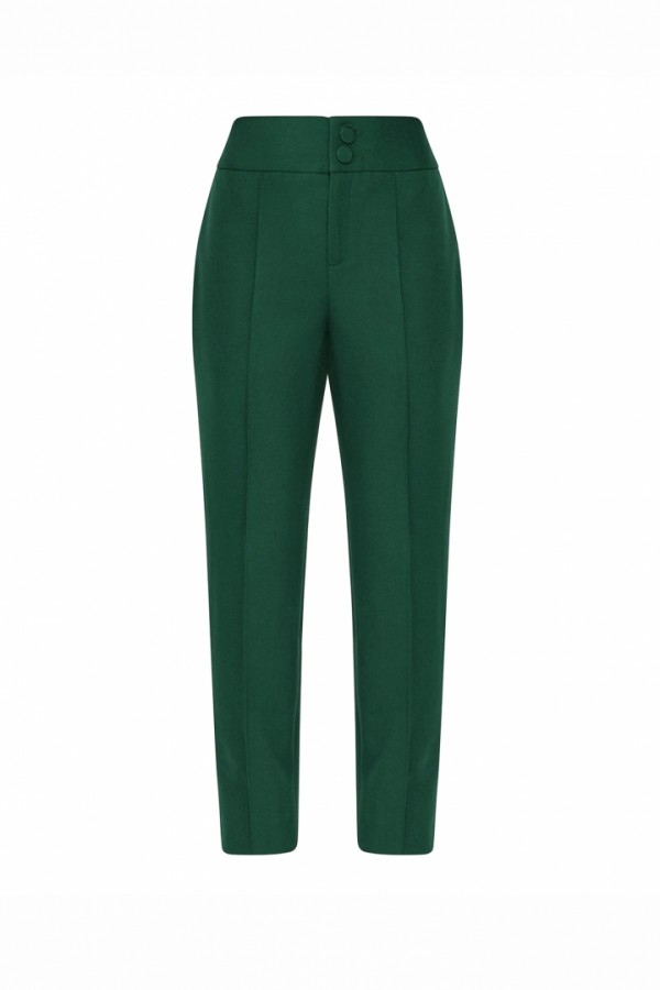 FOREST GREEN STRAIGHT LEGED PANTS